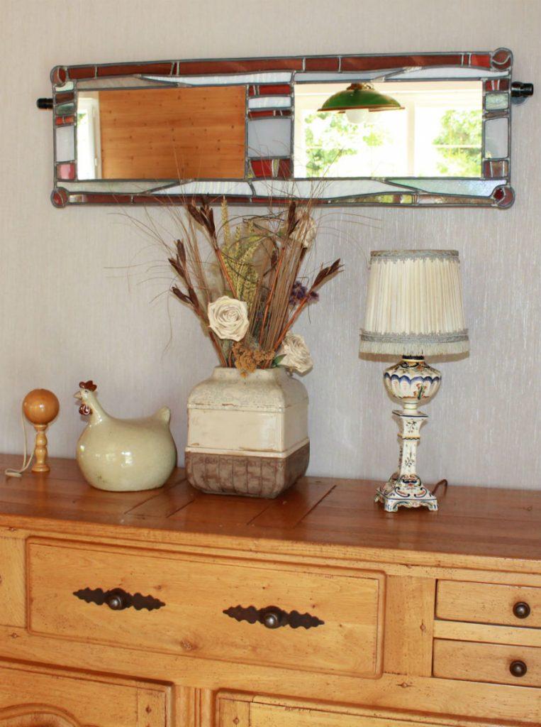 miroir double blanc rouge et violet