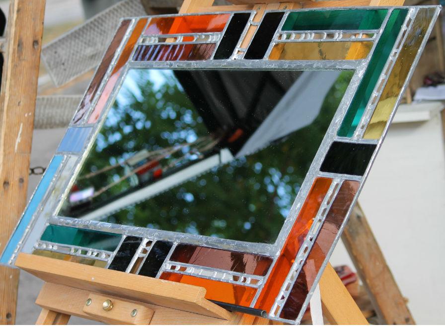 miroir art déco orange bleu vioet et gris en vitrail