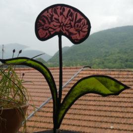 fleur en verre agapanthe vitrail artisanal