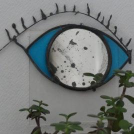 miroir oeil vitrail piece unque