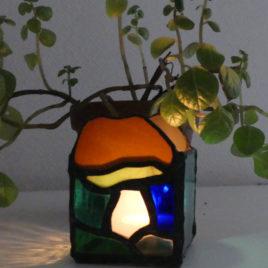 photophore champignon en verre technique vitrail